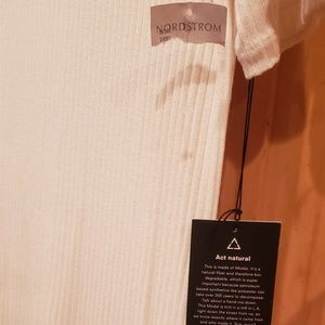 NWT Reformation ribbed winter white t'shirt dress